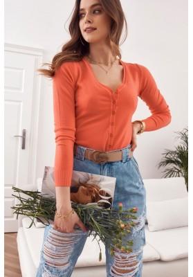 Tenký dámsky sveter zapínaný na gombíky s výstrihom, oranžový