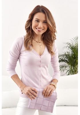 Tenký dámsky sveter zapínaný na gombíky s výstrihom, fialový