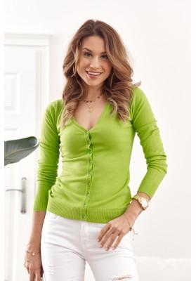 Tenký dámsky sveter zapínaný na gombíky s výstrihom, zelený