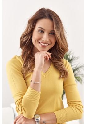 Jednoduchý, klasický sveter  výstrihom v tvare písmena V, žltý