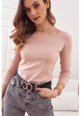 Jednoduchý top/tričko  lodičkovým výstrihom a dlhým rukávom, ružový