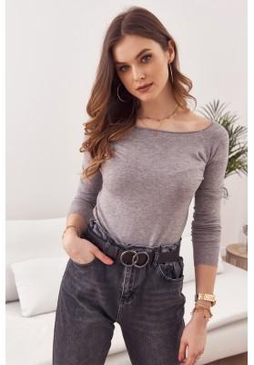 Jednoduchý top/tričko  lodičkovým výstrihom a dlhým rukávom, sivý