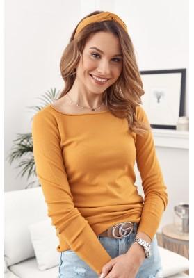 Jednoduchý top/tričko  lodičkovým výstrihom a dlhým rukávom, žltý