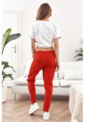 Pohodlné, dámske tepláky s lemom, červené