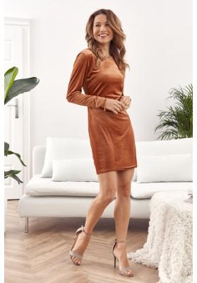 Moderné, krátke minišaty z módneho velúrového materiálu, oranžové