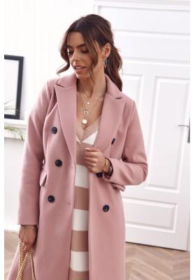 Elegantný, dlhý kabát s podšívkou, ružový