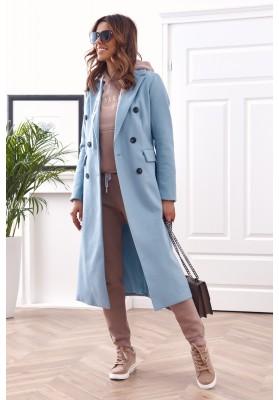 Elegantný, dlhý kabát s podšívkou, modrý
