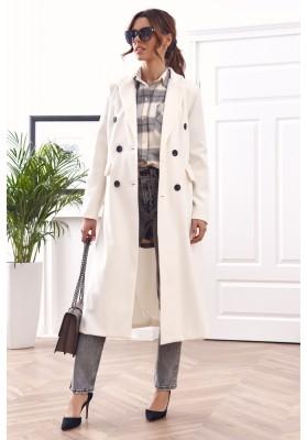 Elegantný, dlhý kabát s podšívkou, biely