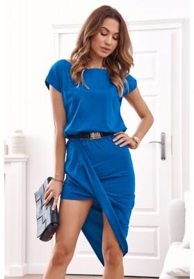 Asymetrické šaty s krátkym rukávom a lodičkovým výstrihom, modré