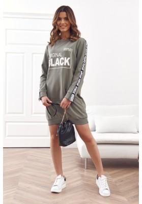 Oversize tunika s polkruhovým výstrihom a nápisom, khaki