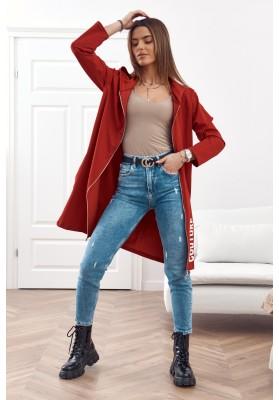 Moderná, dlhá, dámska mikina s kapucňou, bordová