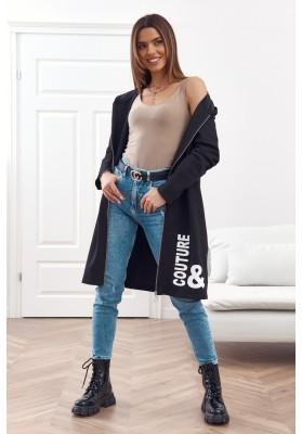 Moderná, dlhá, dámska mikina s kapucňou, čierna