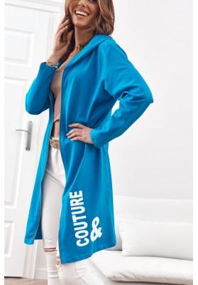 Moderná, dlhá, dámska mikina s kapucňou, modrá