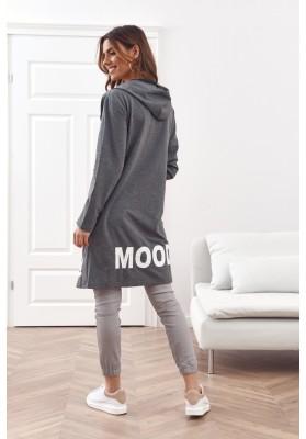 Moderná, dlhá, dámska mikina s kapucňou
