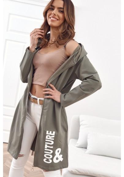 Moderná, dlhá, dámska mikina s kapucňou, khaki