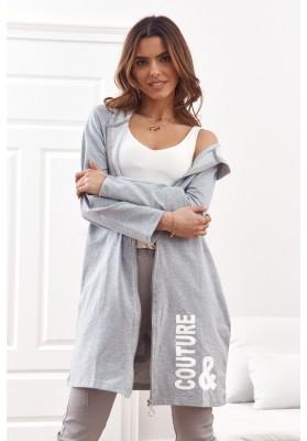 Moderná, dlhá, dámska mikina s kapucňou, sivá