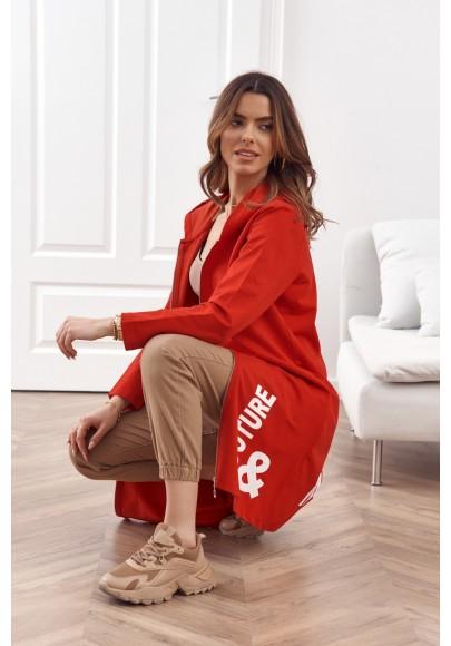 Moderná, dlhá, dámska mikina s kapucňou, červená