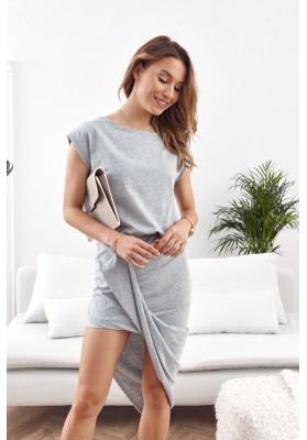 Asymetrické šaty s krátkym rukávom a lodičkovým výstrihom, sivé