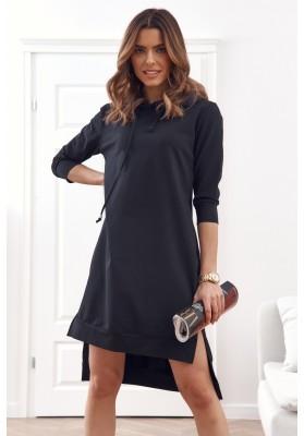 Pohodlné, jednoduché bavlnené šaty s kapucňou, čierne