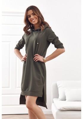Pohodlné, jednoduché bavlnené šaty s kapucňou, khaki
