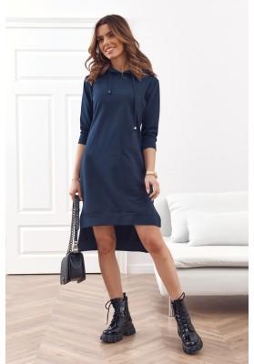 Pohodlné, jednoduché bavlnené šaty s kapucňou, modré