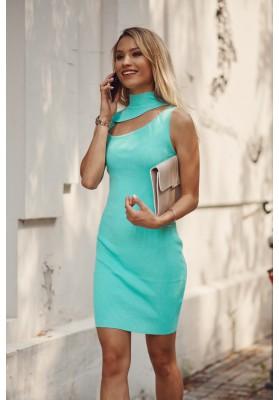 Pohodlné mini šaty  vsadeným otvorom nad prsiami, zelené