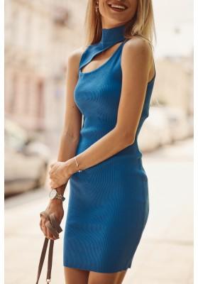 Pohodlné mini šaty so vsadeným otvorom nad prsiami, modré