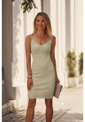 Nadčasové, priliehavé šaty v mini dĺžke na ramienka, zelené