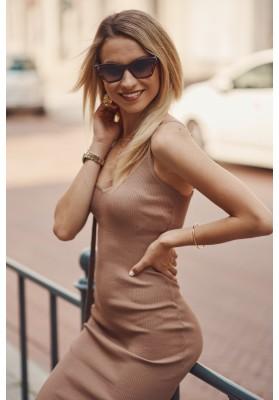 Nadčasové, priliehavé šaty v mini dĺžke na ramienka, hnedé