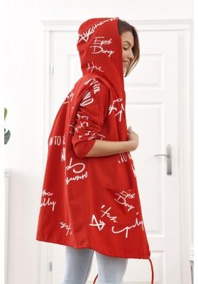 Oversize mikina s nápismi a kapucňou, červená