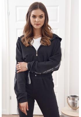 Bavlnená, moderná súprava mikiny a teplákových nohavíc, čierna