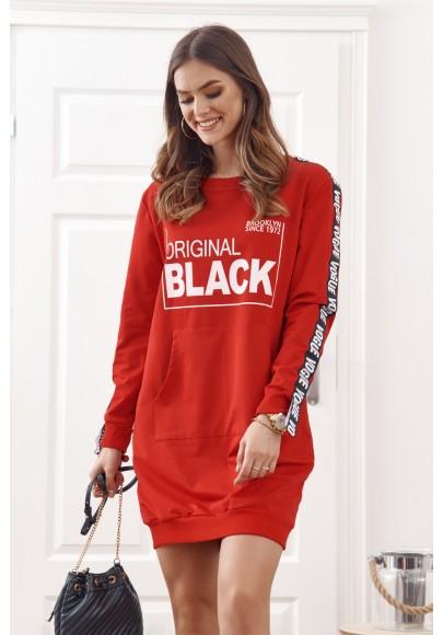 Oversize tunika s polkruhovým výstrihom a nápisom, červená