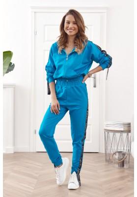 Bavlnená, moderná súprava mikiny a teplákových nohavíc, modrá