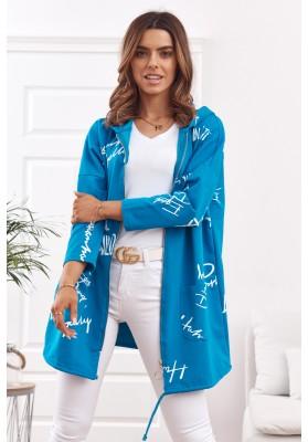 Oversize mikina s nápismi a kapucňou, modrá