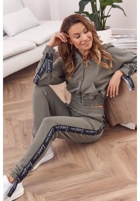 Bavlnená, moderná súprava mikiny a teplákových nohavíc, khaki