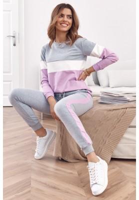 Set pohodlnej mikiny a teplákových nohavíc, sivá/fialová