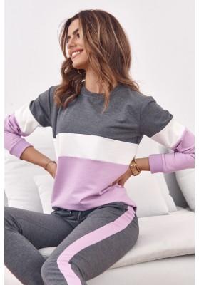Set pohodlnej mikiny a teplákových nohavíc, šedá/fialová