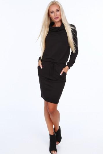 Čierne dámske šaty so širokým golierom