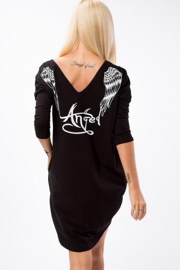Anjelska tunika s vreckami a potlačou na chrbte, čierna