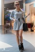 Šaty sivé s dlhými rukávmi