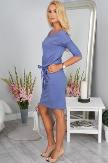 Šaty levanduľové s viazaním okolo pásu