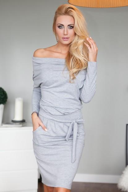 Nádherné sivé midi šaty s dlhými rukávmi