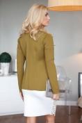 Elegantné olivové sako s aplikáciami