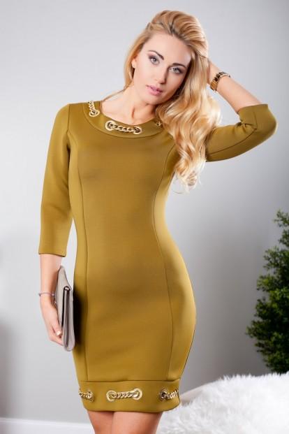 Olivové mini šaty s dlhými rukávmi a zlatými aplikáciami