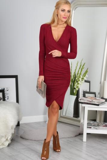 Sexi asymetrické mini šaty, bordové