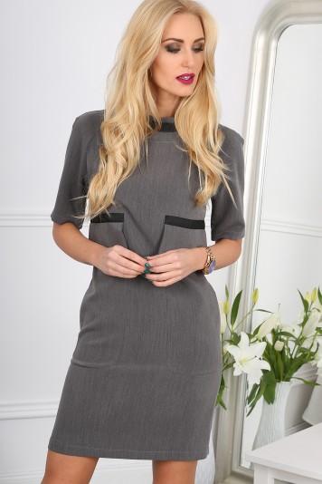 Štýlové, šedé, mini šaty s ozdobnými vreckami
