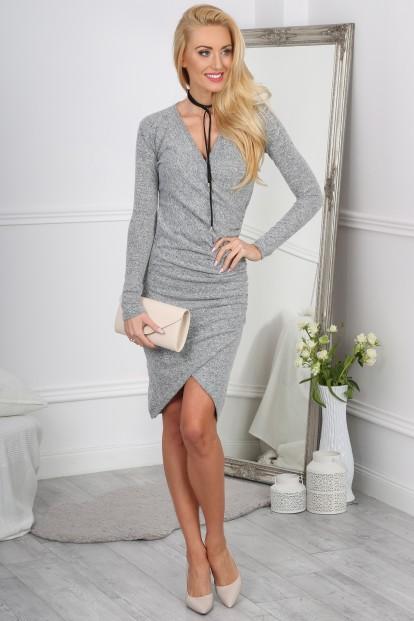 Sexi asymetrické mini šaty, sivé