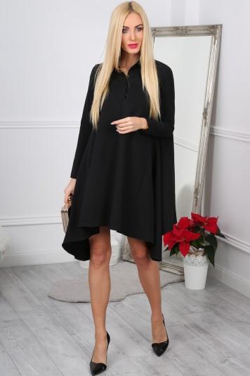 Nádherné,asymetrické, oversize čierne šaty.