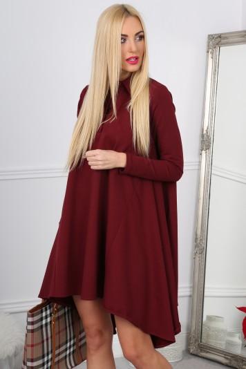 Nádherné,asymetrické, oversize bordové šaty.