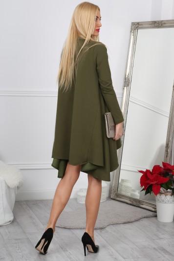 Nádherné,asymetrické, oversize kaki šaty.